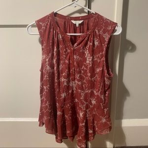 Lucky Brand Red Floral Print Ruffled Tank Top S